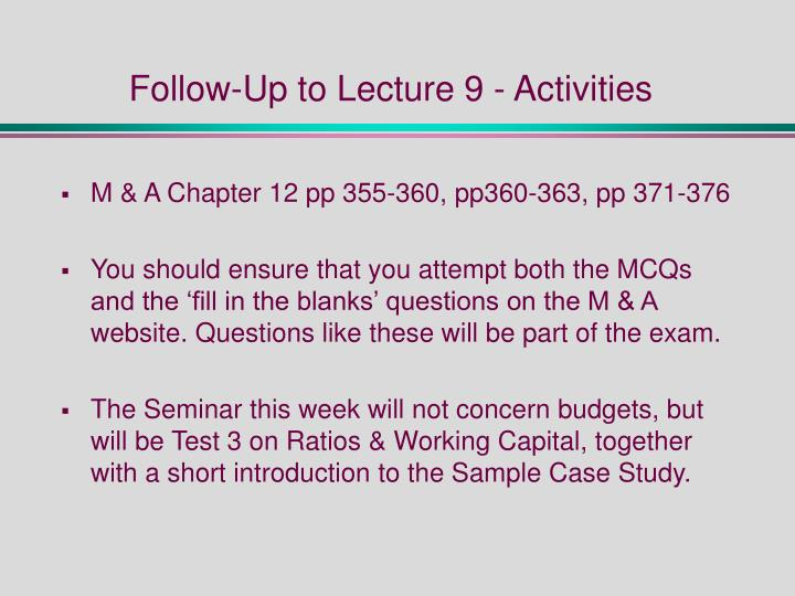 Follow-Up to Lecture 9 - Activities