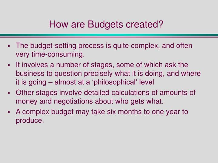 How are Budgets created?