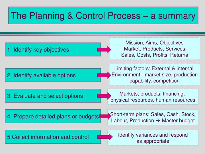 The Planning & Control Process – a summary