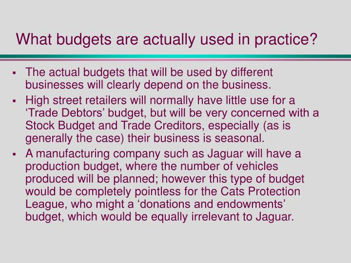 What budgets are actually used in practice?