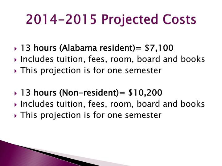 2014-2015 Projected Costs