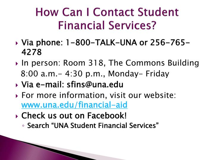 How Can I Contact Student Financial Services?