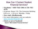 how can i contact student financial services