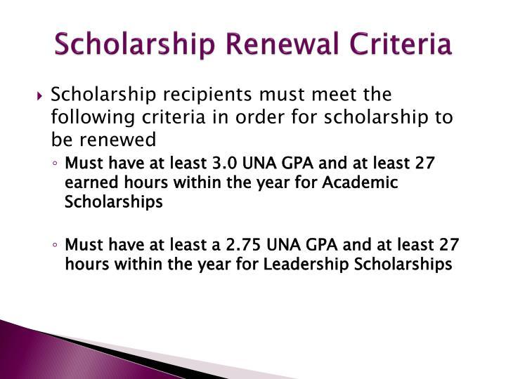 Scholarship Renewal Criteria