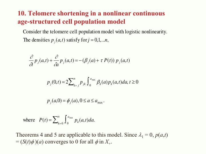 10. Telomere shortening in a nonlinear continuous