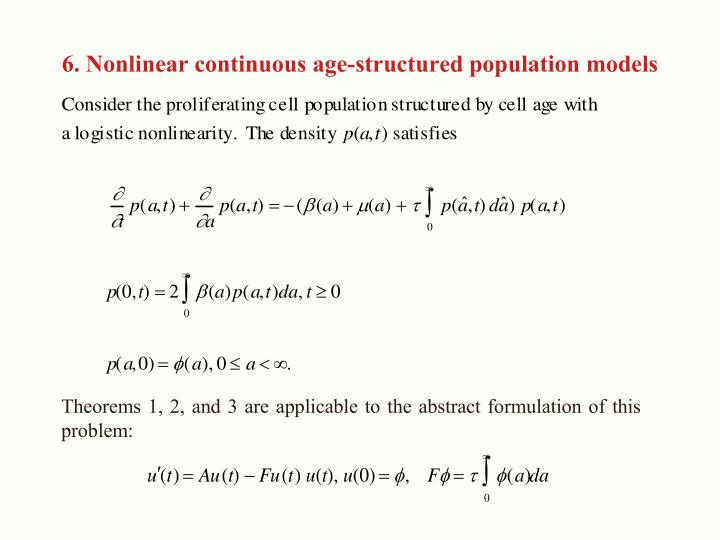 6. Nonlinear continuous age-structured population models