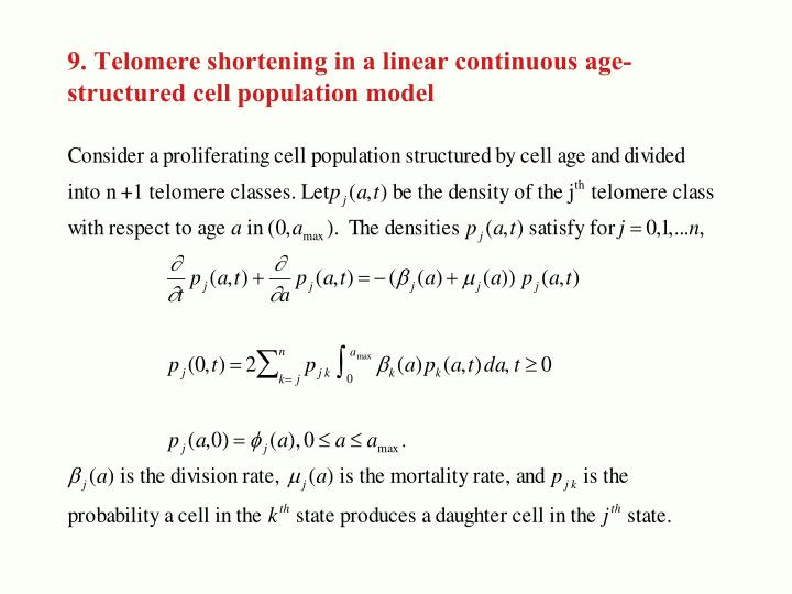 9. Telomere shortening in a linear continuous age-
