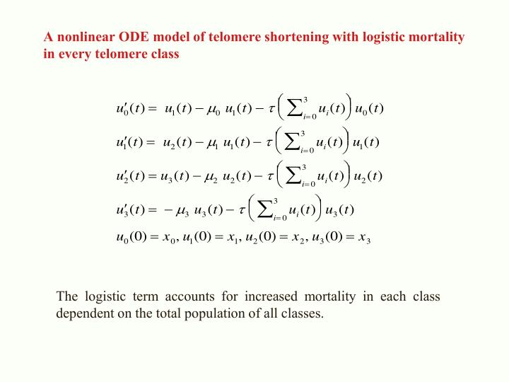 A nonlinear ODE model of telomere shortening with logistic mortality