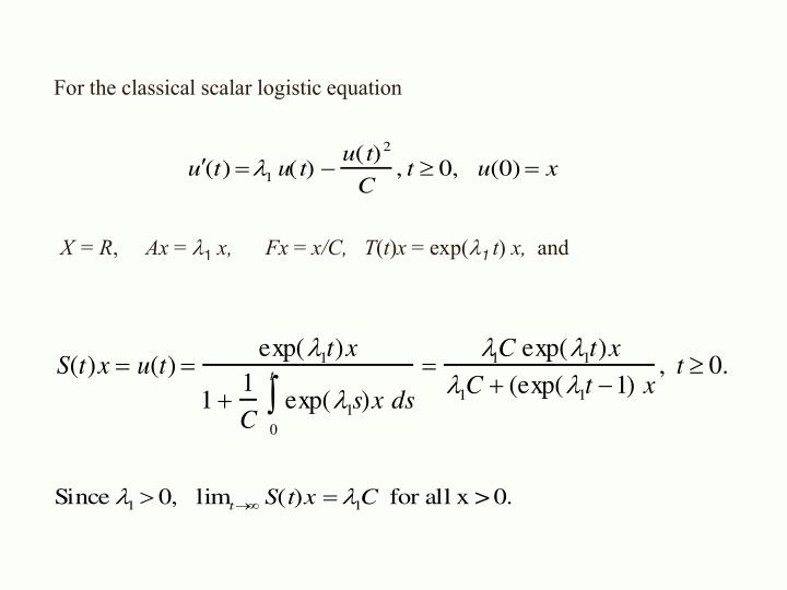 For the classical scalar logistic equation