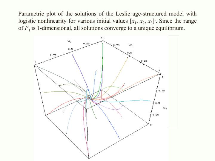 Parametric plot of the solutions of the Leslie age-structured model with logistic nonlinearity for various initial values [