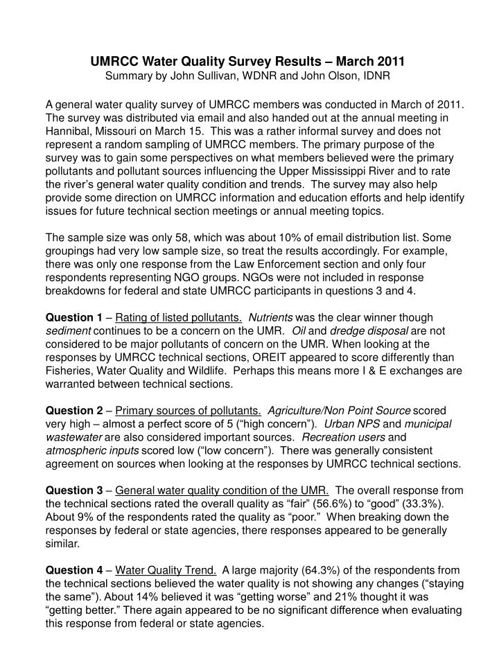 UMRCC Water Quality Survey Results – March 2011