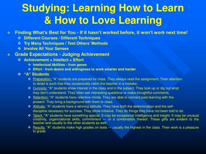 Studying: Learning How to Learn & How to Love Learning