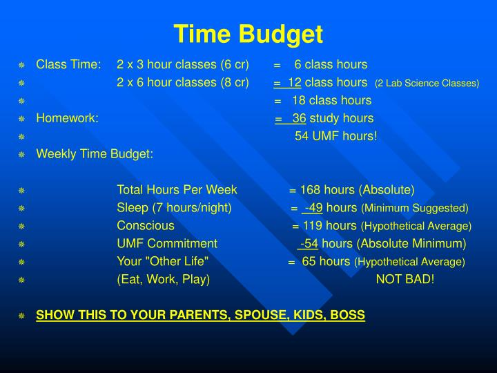 Time Budget