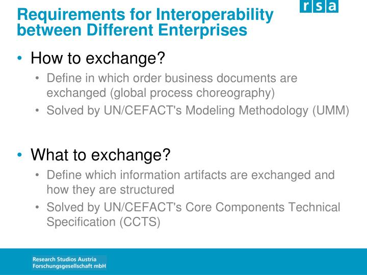 Requirements for Interoperability
