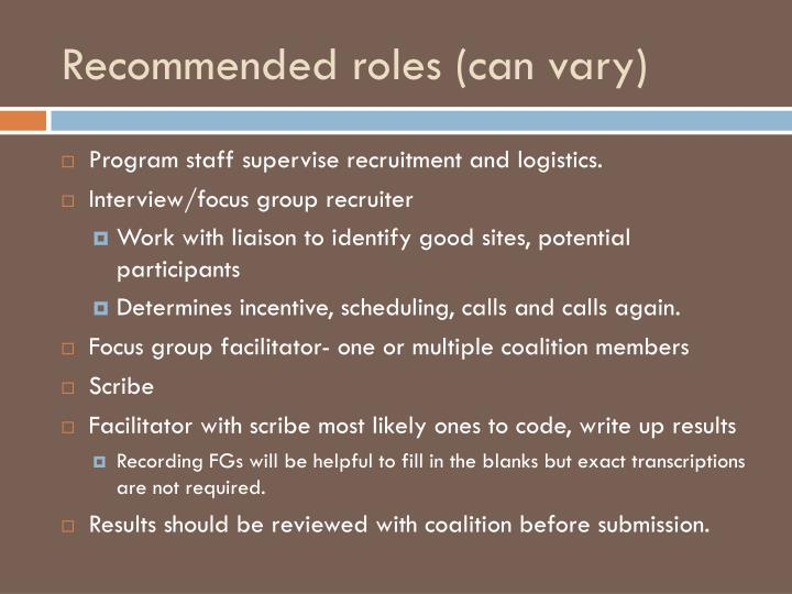 Recommended roles (can vary)