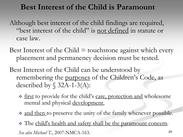 Best Interest of the Child is Paramount