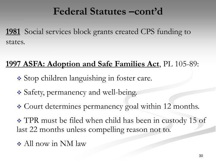 Federal Statutes –cont'd