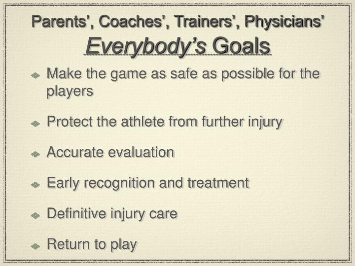 Parents coaches trainers physicians everybody s goals