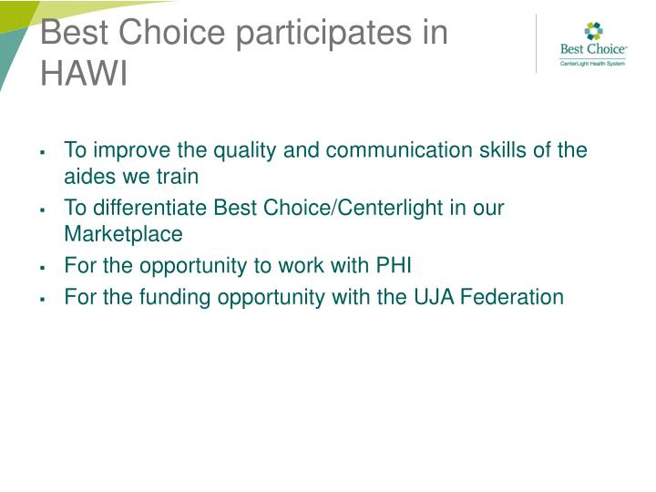 Best choice participates in hawi