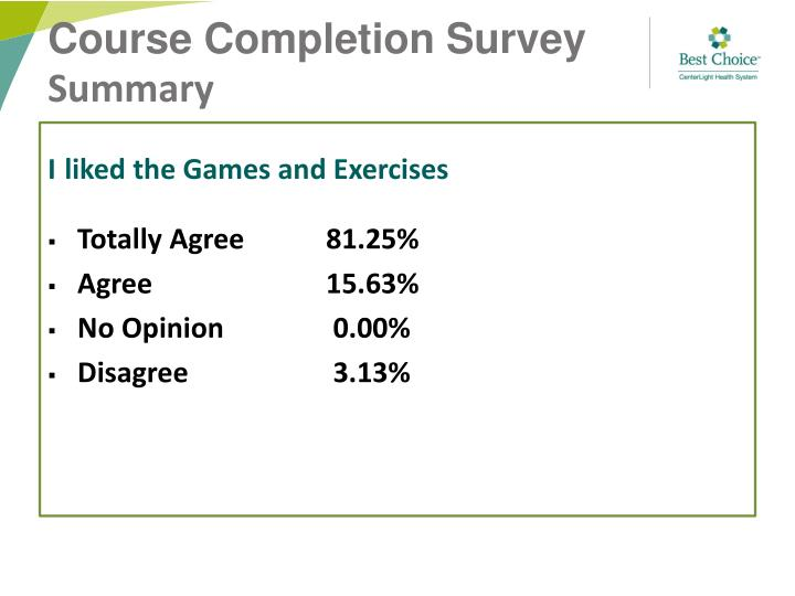 Course Completion Survey