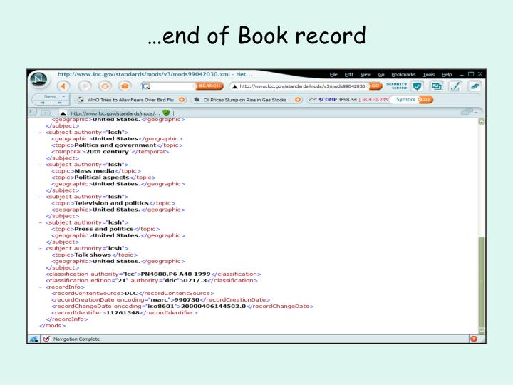 …end of Book record