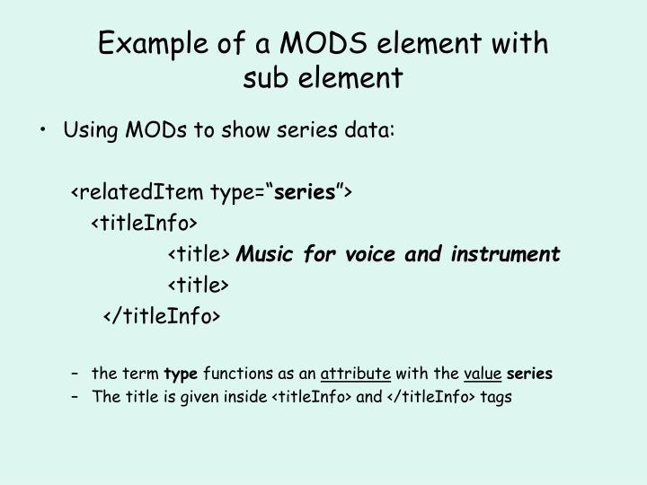 Example of a MODS element with