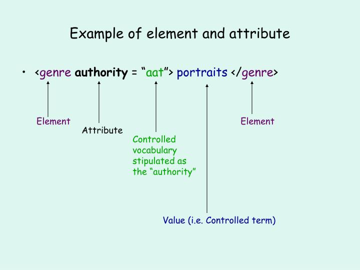 Example of element and attribute