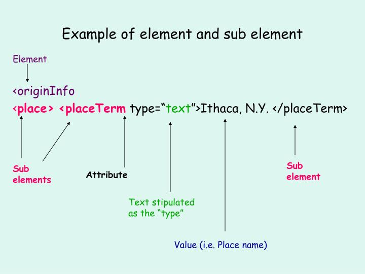 Example of element and sub element
