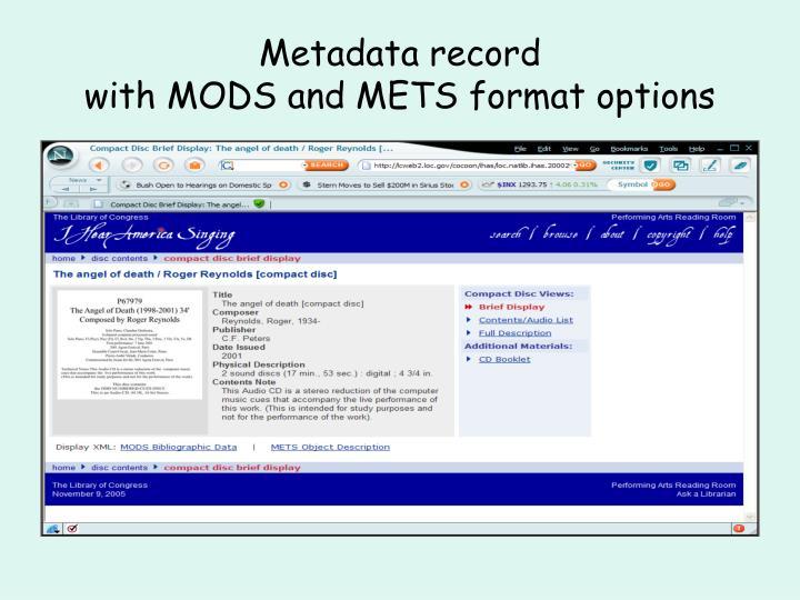 Metadata record