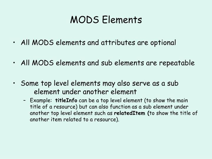 MODS Elements