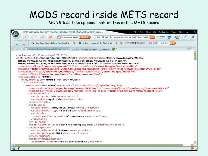 MODS record inside METS record