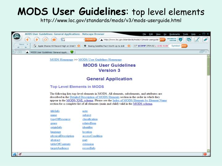 MODS User Guidelines