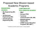 proposed new mission based academic programs