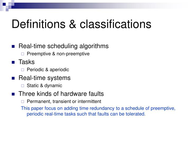 Definitions classifications