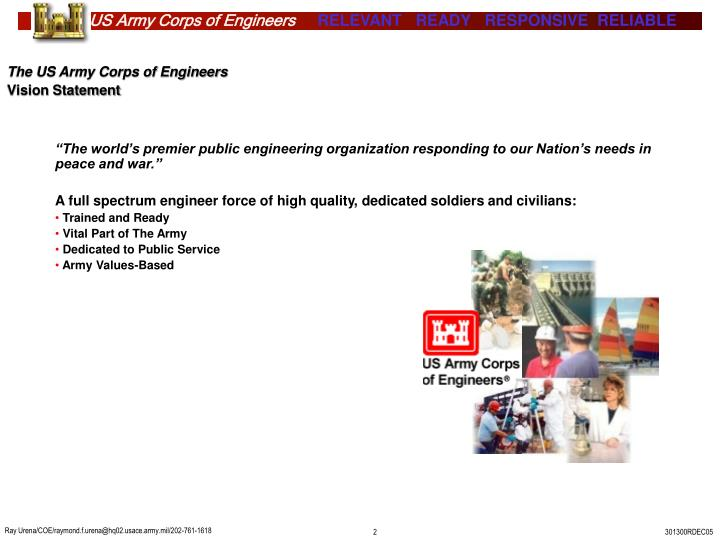 The us army corps of engineers vision statement
