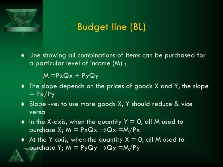 Budget line (BL)