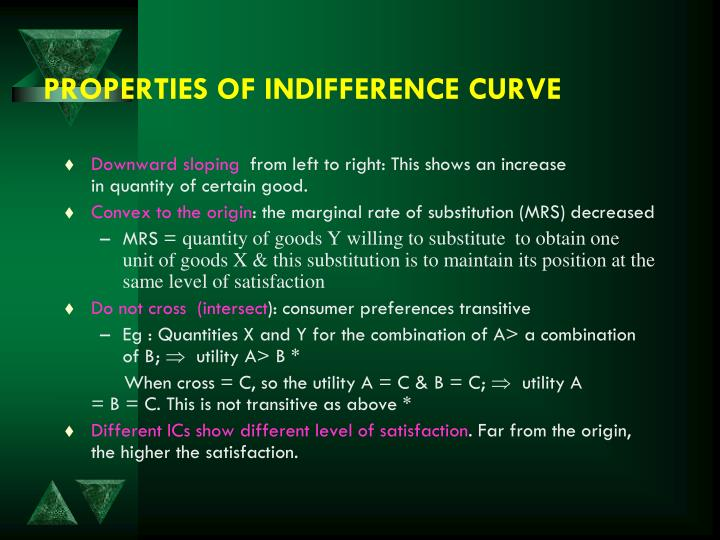 PROPERTIES OF INDIFFERENCE CURVE