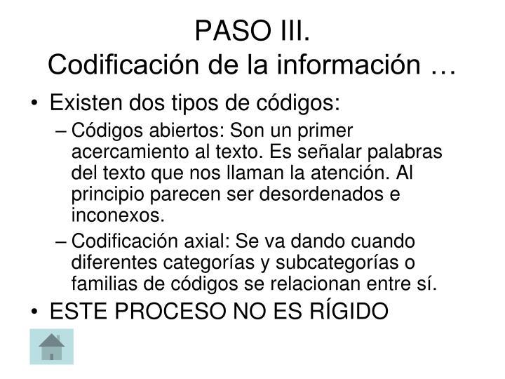 PASO III.