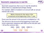 geometric sequences in real life