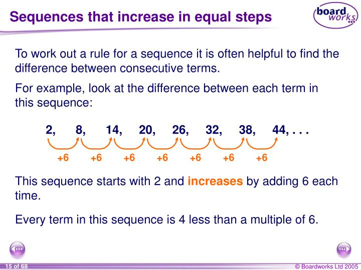 Sequences that increase in equal steps