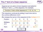 the n th term of a linear sequence