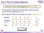the n th term of a linear sequence1