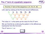 the n th term of a quadratic sequence5