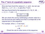 the n th term of a quadratic sequence7