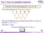 the n th term of a quadratic sequence8
