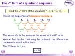 the n th term of a quadratic sequence9