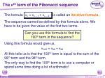 the n th term of the fibonacci sequence1