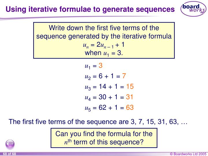 Using iterative formulae to generate sequences
