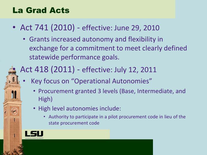 La Grad Acts