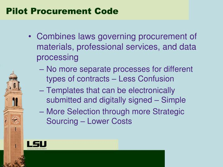 Pilot Procurement Code